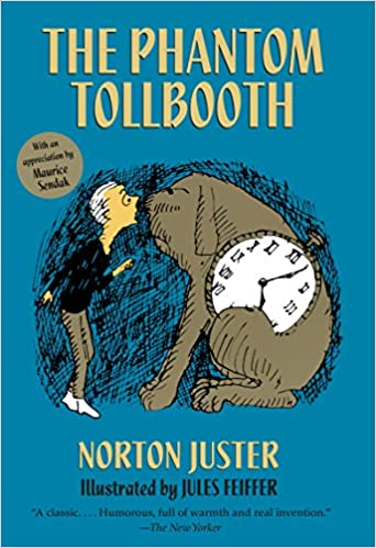 "The Phantom Tollbooth book cover, blue background, illustration of Milo and large dog, ""Tock"" with clock on his side."