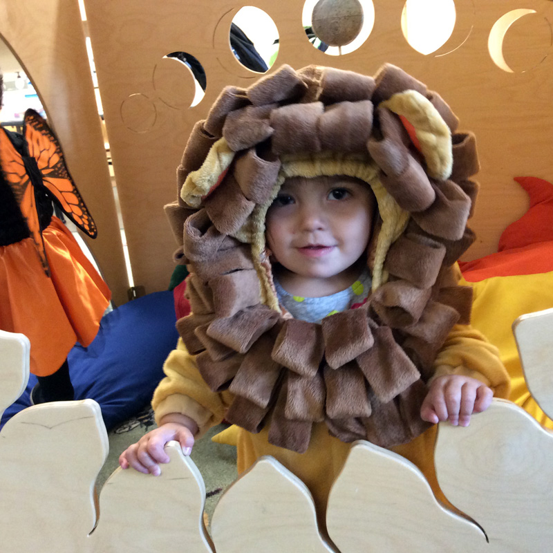 Little girl wearing lion costume, peaking through window of wooden playhouse.
