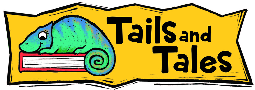Tails and Tales with Chameleon on a book