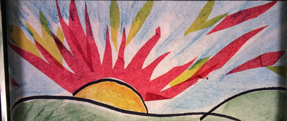 Colorful paper sunset artwork from crankie scroll story.