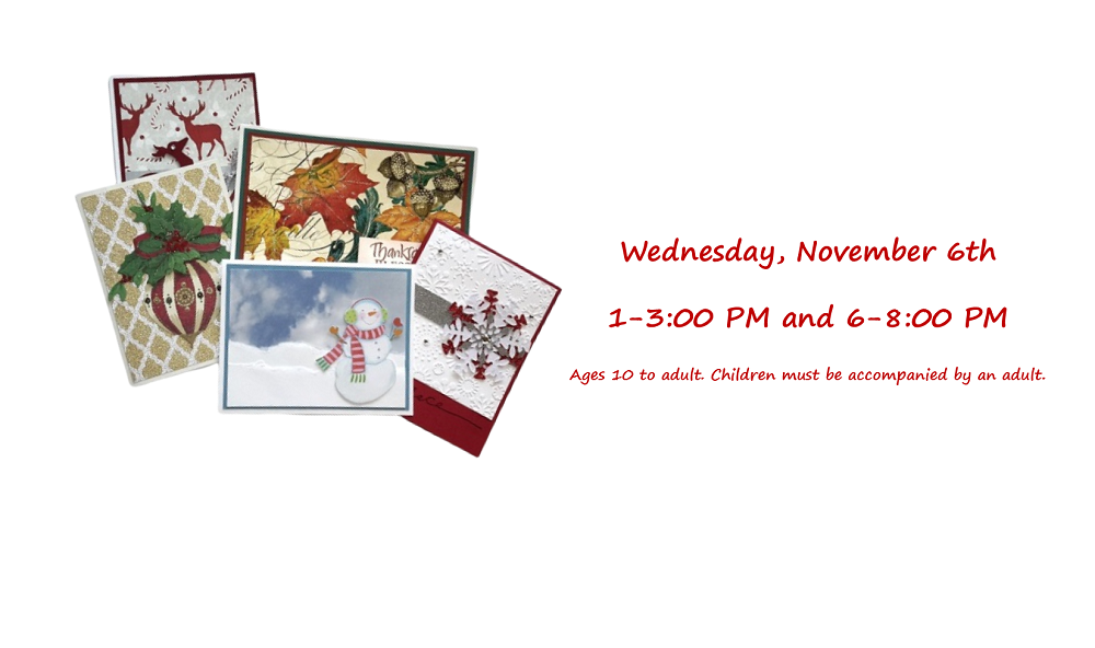 A set of six Thanksgiving and Christmas cards with program date and times.