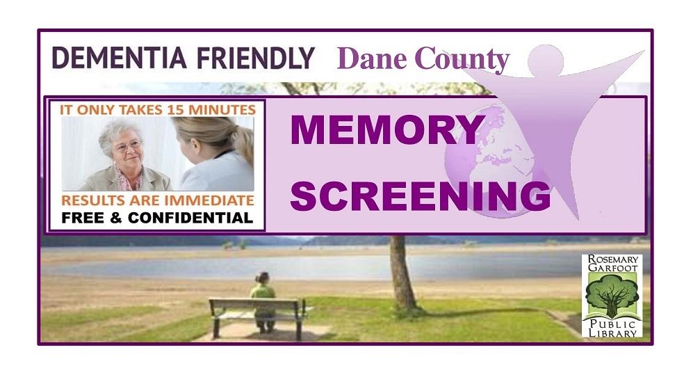Two women talking  - Banner reading Dementia Friendly Dane County Memory Screening.
