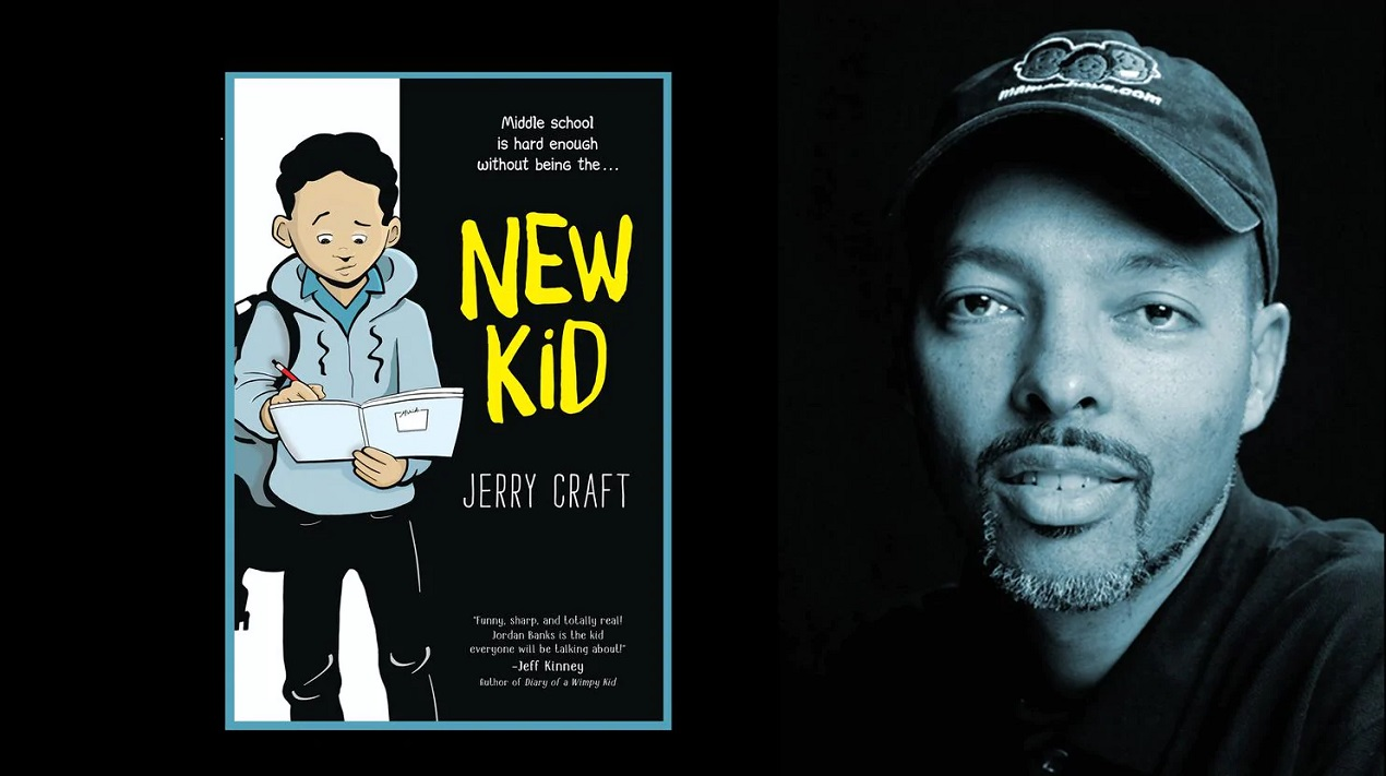 Cover of graphic novel, New Kid, and headshot of author/artist Jerry Craft