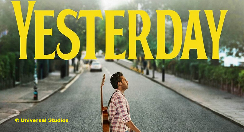 Film title, Yesterday, and man carrying a guitar walking across Abbey Road.