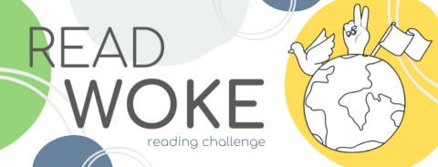 "Banner of green blue and yellow graphics with ""Read Woke"" title, image of globe."