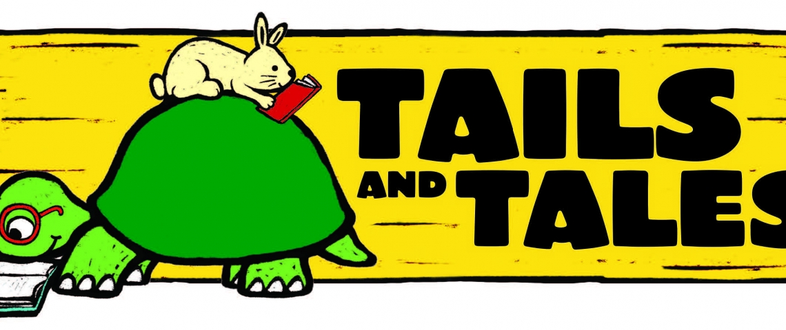 Tails and Tales slogan banner with turtle and rabbit reading
