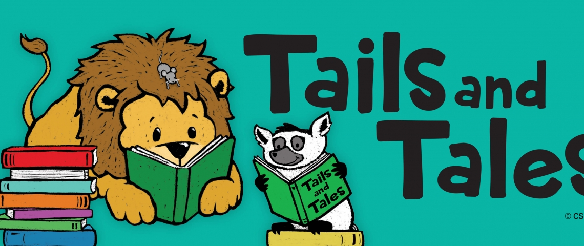 Tails and Tales, lion and lemur reading on teal background