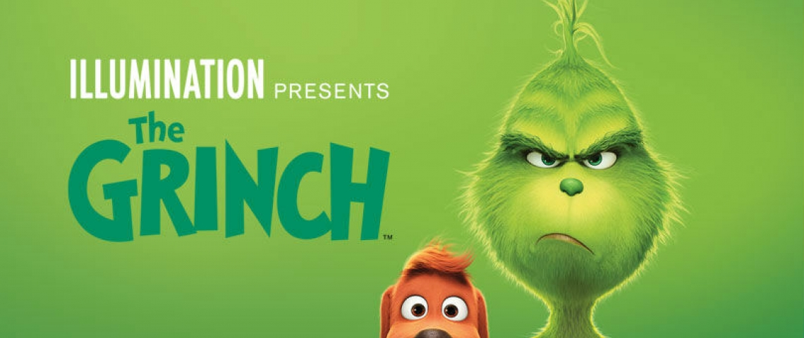 Movie banner with The Grinch and his dog Max